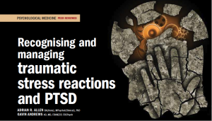Recognising and managing traumatic stress reactions and PTSD