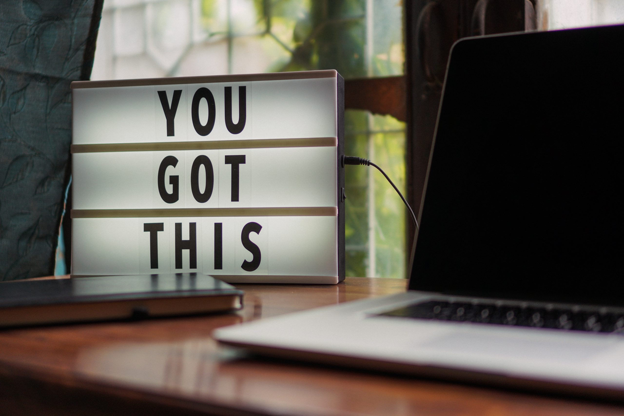 You got this sign with laptop - pace yourself - - prevent and overcome burnout