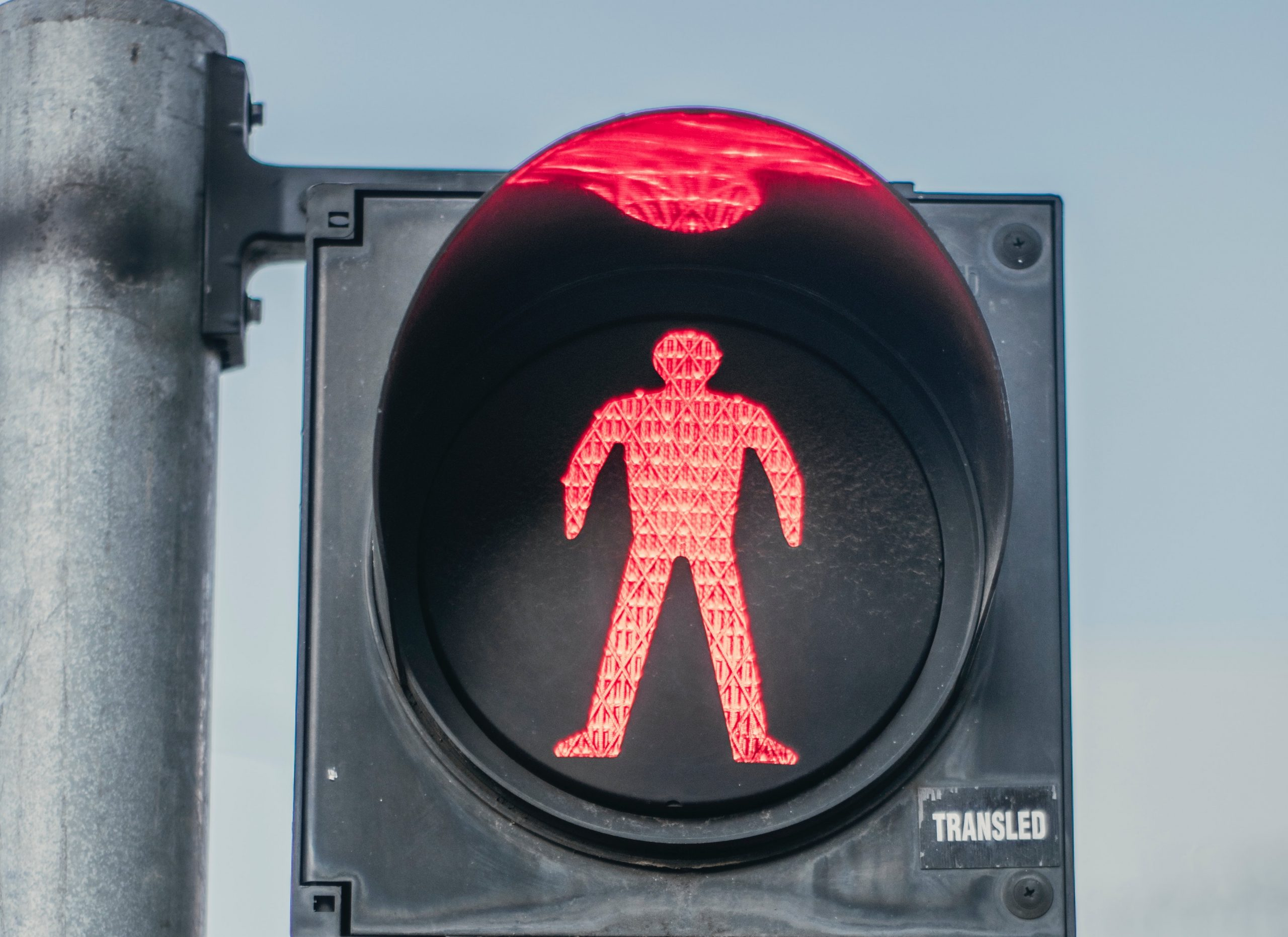 Pedestrian crossing sign showing don't walk
